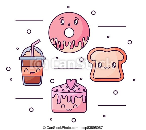 set of food icons in kawaii style - csp83895087