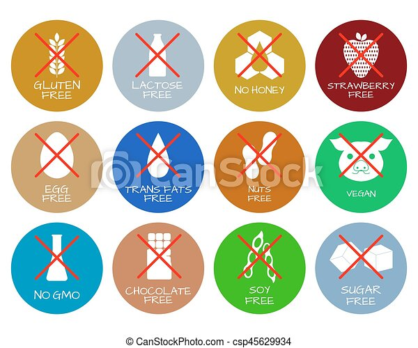 set of food labels allergens gmo free products food vectors rh canstockphoto com free labels vector download free vector label shapes