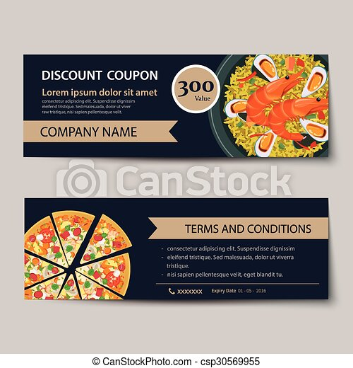 Set Of Food Voucher Discount Template Design Clipart Vector  Search