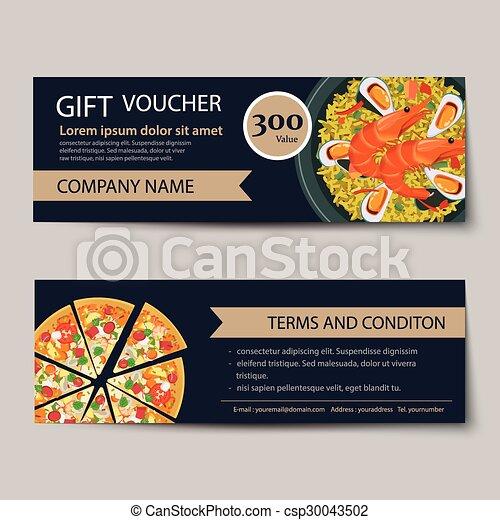 Set Of Food Voucher Discount Template Design Vector
