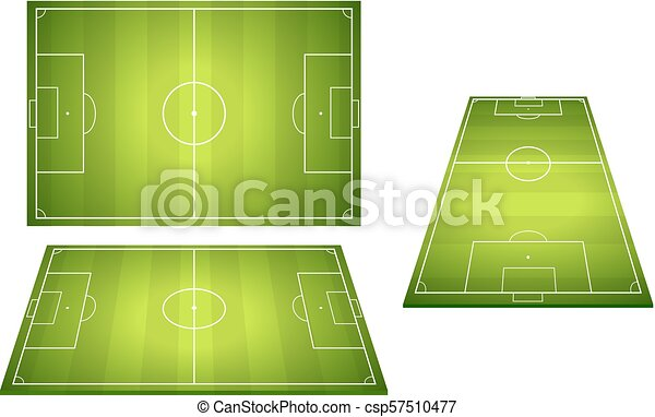 Set Of Football Soccer Fields Football Fields With Trampled Down
