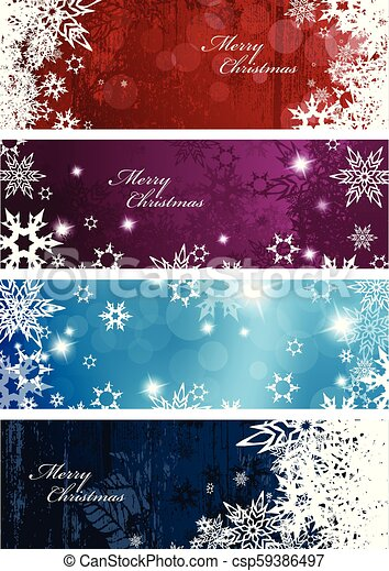 Colorful Christmas Background Design.Set Of Four Colorful Christmas Background Banners With Snowflakes And Simple Merry Christmas Text Horizontal Version