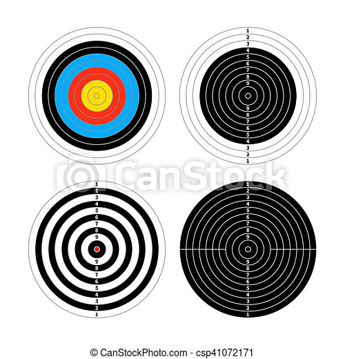 Set of four different targets for shooting practice on white - csp41072171