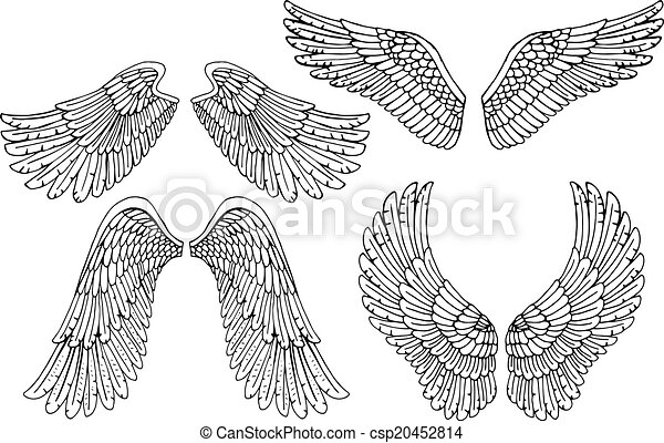 Set Of Four Different Vector Angel Wings In Black And White Outline In The Open Position For Tattoo And Use As Design