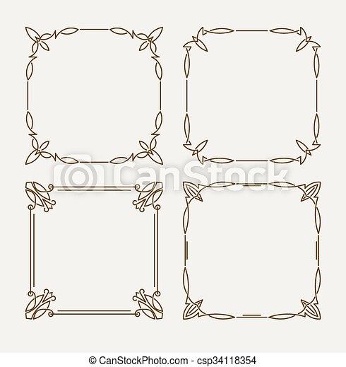 Set of four elegant calligraphic vector frames.
