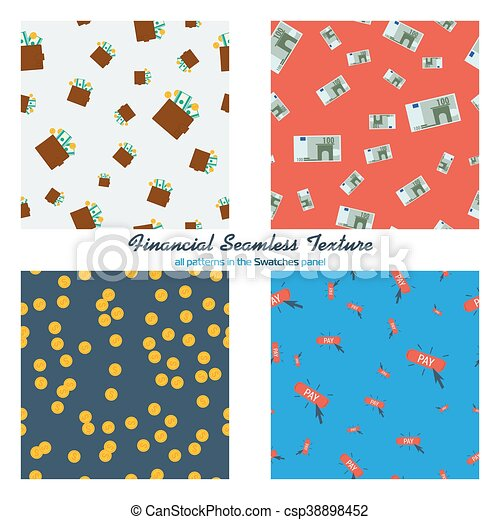 Set of four financial seamless patterns - csp38898452