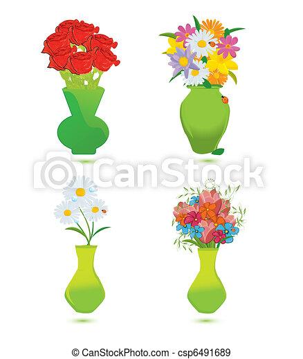 Set Of Four Flower Vase Vector Illustration