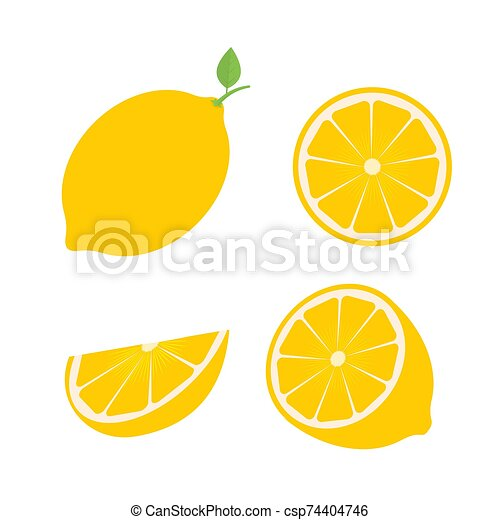 Set of four fresh lemons different views whole, half, slice. Natural organic fruits isolated on white background. Flat vector illustration. emplate for your design projects. - csp74404746