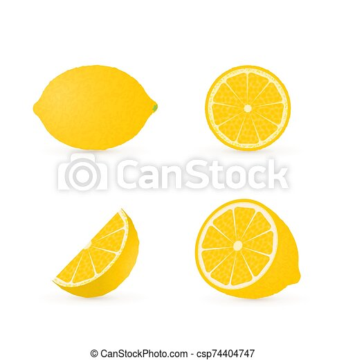 Set of four fresh lemons different views whole, half, slice, cone . Natural organic citrus fruits isolated on white. 3d realistic lemon vector illustration. - csp74404747