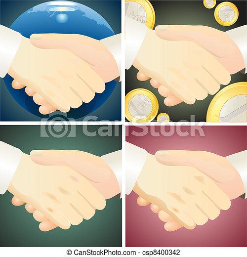 Set of four handshaks against diffe - csp8400342