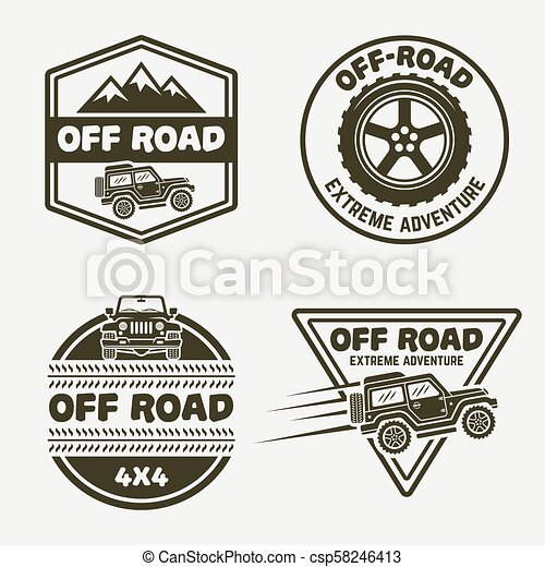 Set Of Four Off Road Suv Car Monochrome Emblems Set Of Four Off