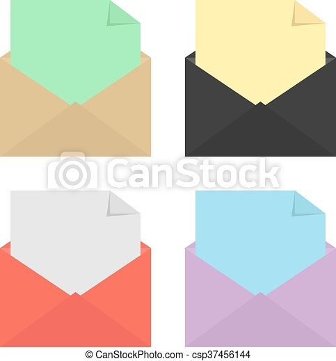 set of four open colored envelopes - csp37456144