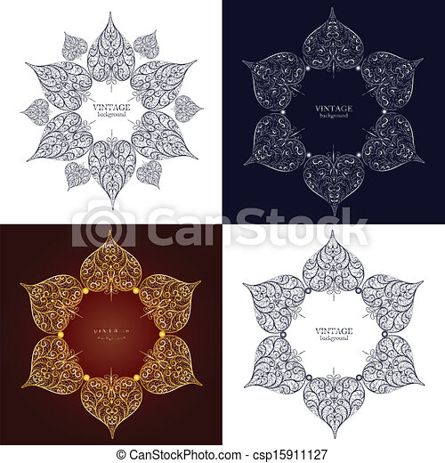 Set of four ornamental round lace, circle ornament - csp15911127