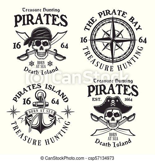 Set of four pirates vintage vector emblems, labels - csp57134973