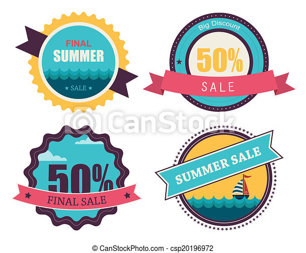 set of four retro labels for summer sale - csp20196972