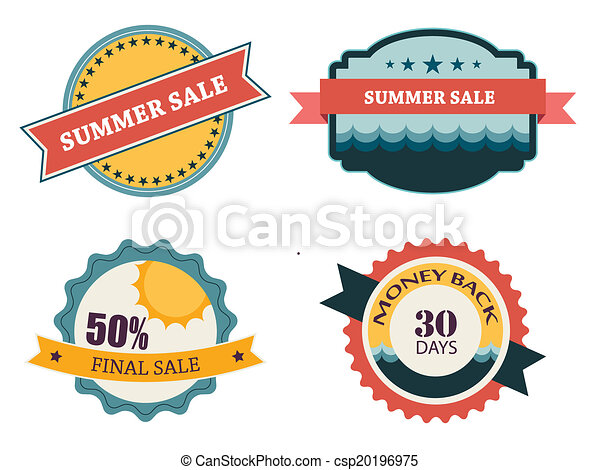 set of four retro labels for summer sale - csp20196975