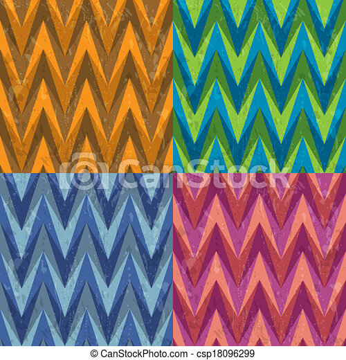 Set of Four Seamless Color Abstract Retro Vector Backgrounds - csp18096299