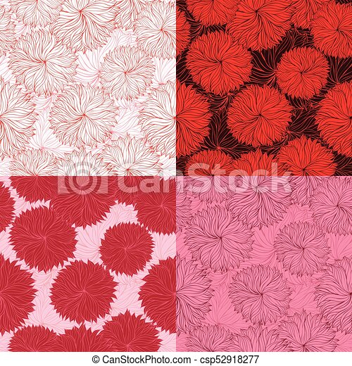 Set of four seamless red floral pattern - csp52918277