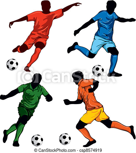 Set of four soccer players in different poses. beautiful items for ...