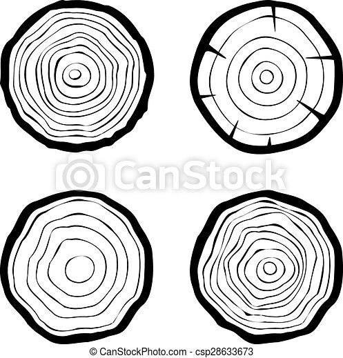 Set Of Four Tree Rings Icons Concept Of Saw Cut Tree Trunk