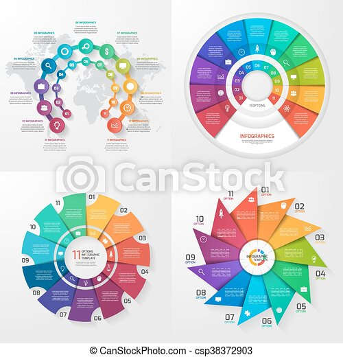 Set of four vector infographic templates. Business, education, industry, science concept with 11 values, options, parts, steps, processes. - csp38372903