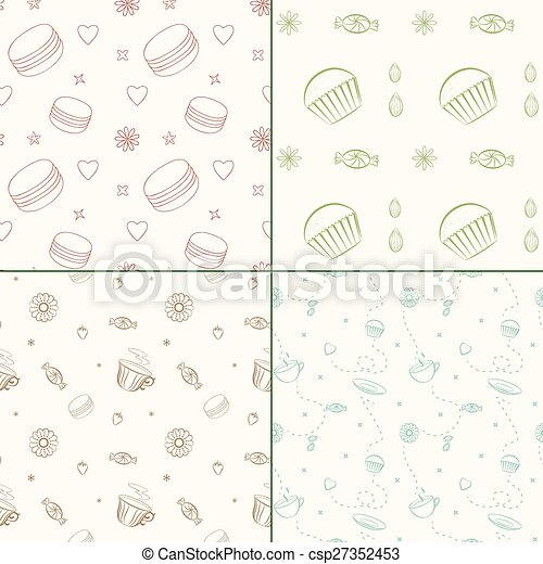 Set of four vector seamless patterns with desserts and sweets - csp27352453