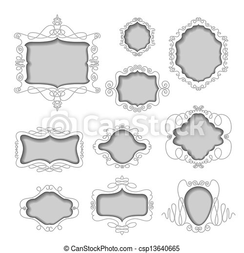 set of frames cut out from white ba - csp13640665