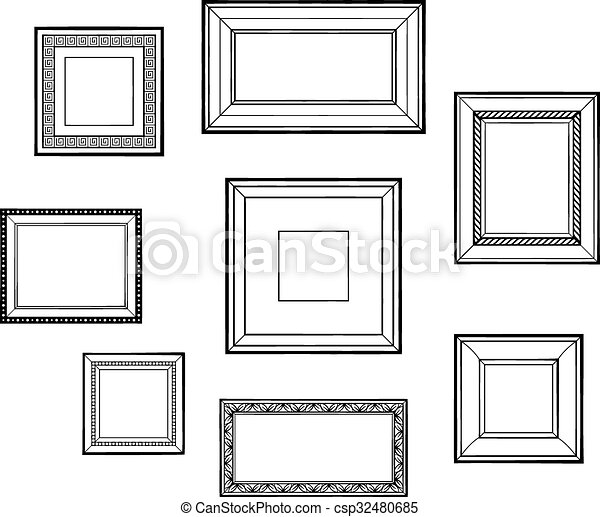 Set of frames. Set of vector frames, different design and sizes, blank.