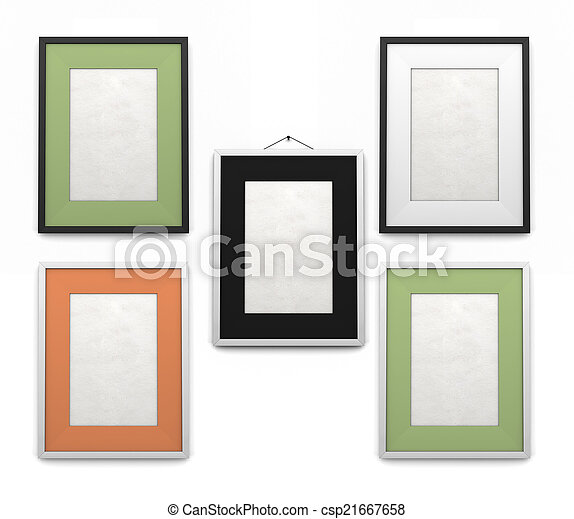 Set of frames for paintings of different colors isolated on a white ...