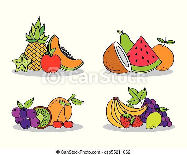 Set Of Fresh Nutrition Food Fruits Vector Illustration