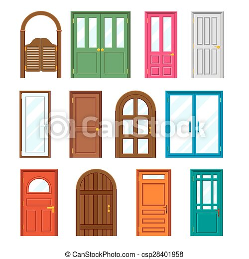set of front buildings doors in flat design style exterior rh canstockphoto com free front door clipart free front door clipart