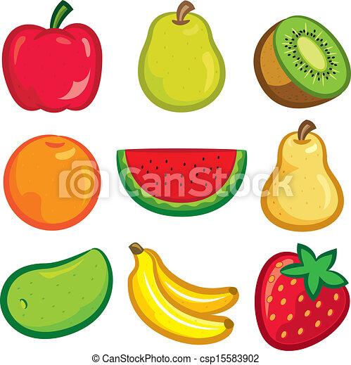 set of fruit icon rh canstockphoto com fruit vector background free fruit vectoriel gratuit