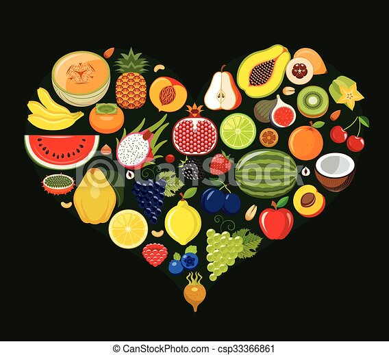 Set of fruit icons forming heart. - csp33366861