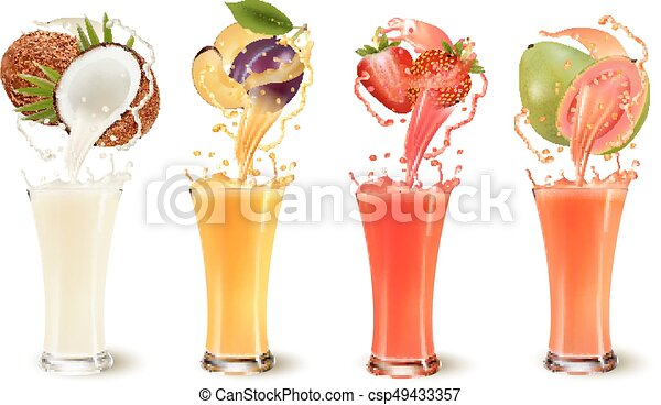 Set of fruit juice splash in a glass. Coconut, plum, strawberry and guava. Vector - csp49433357