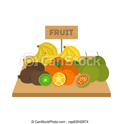 Set of fruits and vegetables. Food on wooden table - csp63542874