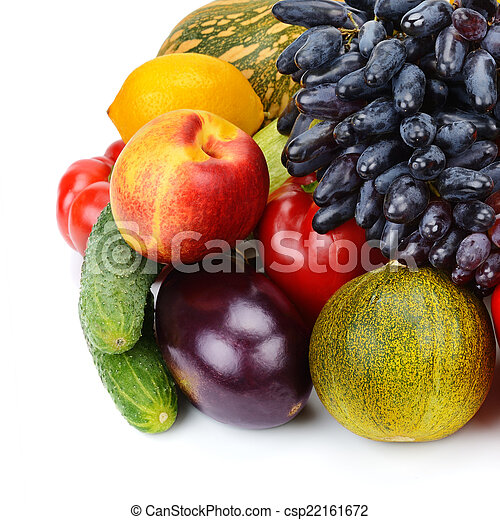 set of fruits and vegetables isolated on white background - csp22161672