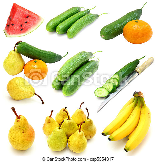 Set of fruits and vegetables isolated on white background - csp5354317