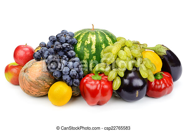 set of fruits and vegetables isolated on white background - csp22765583