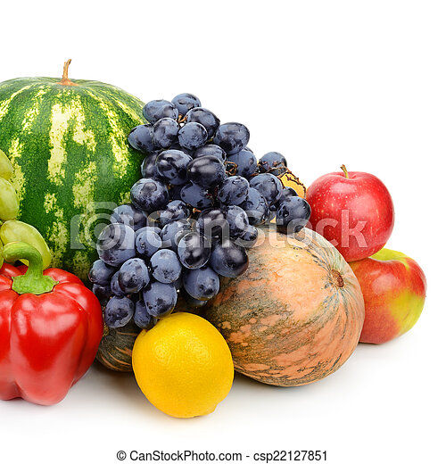 set of fruits and vegetables isolated on white background - csp22127851