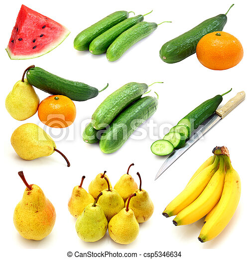 Set of fruits and vegetables isolated on white background - csp5346634