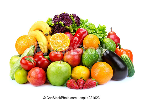set of fruits and vegetables on white background - csp14221623