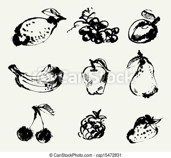 Set of fruits. Freehand drawing - csp15472831