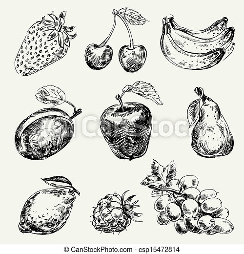 Set of fruits. Freehand drawing - csp15472814
