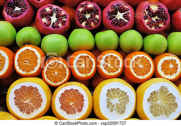 Set of fruits on the market - csp32091737
