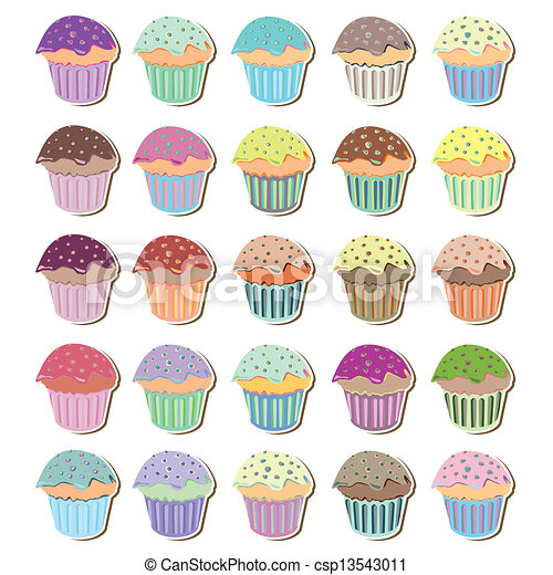Set of Funky Cute Cupcakes - csp13543011