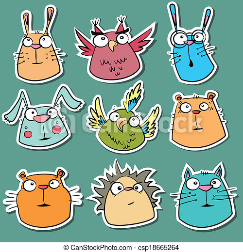 Set of funny animal stickers csp18665264