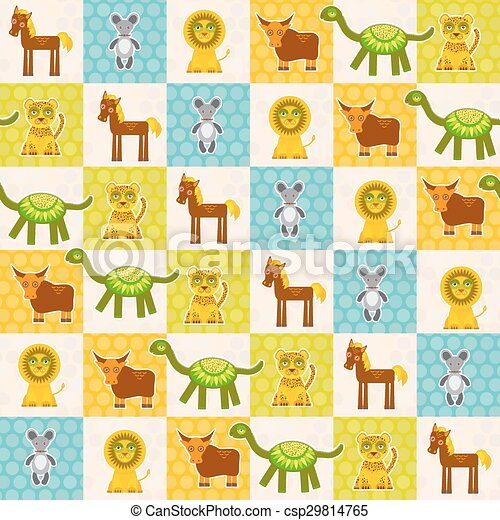 Set of funny animals Mouse lion cow dinosaur tiger horse seamless pattern. Polka dot background with green blue orange square. Vector - csp29814765