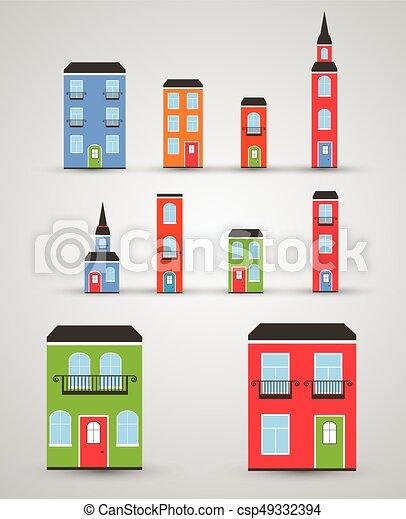 Set of funny buildings. Vector - csp49332394