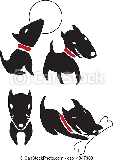 Set of funny cartoon  black dogs - csp14847383