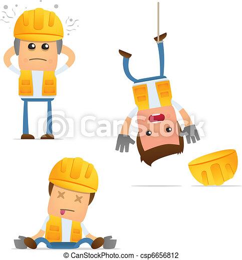 set of funny cartoon builder - csp6656812